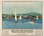 Irish Art Travel Poster, Dun Laoghaire Kingston, County Wicklow, Ireland, by Norman Wilkinson